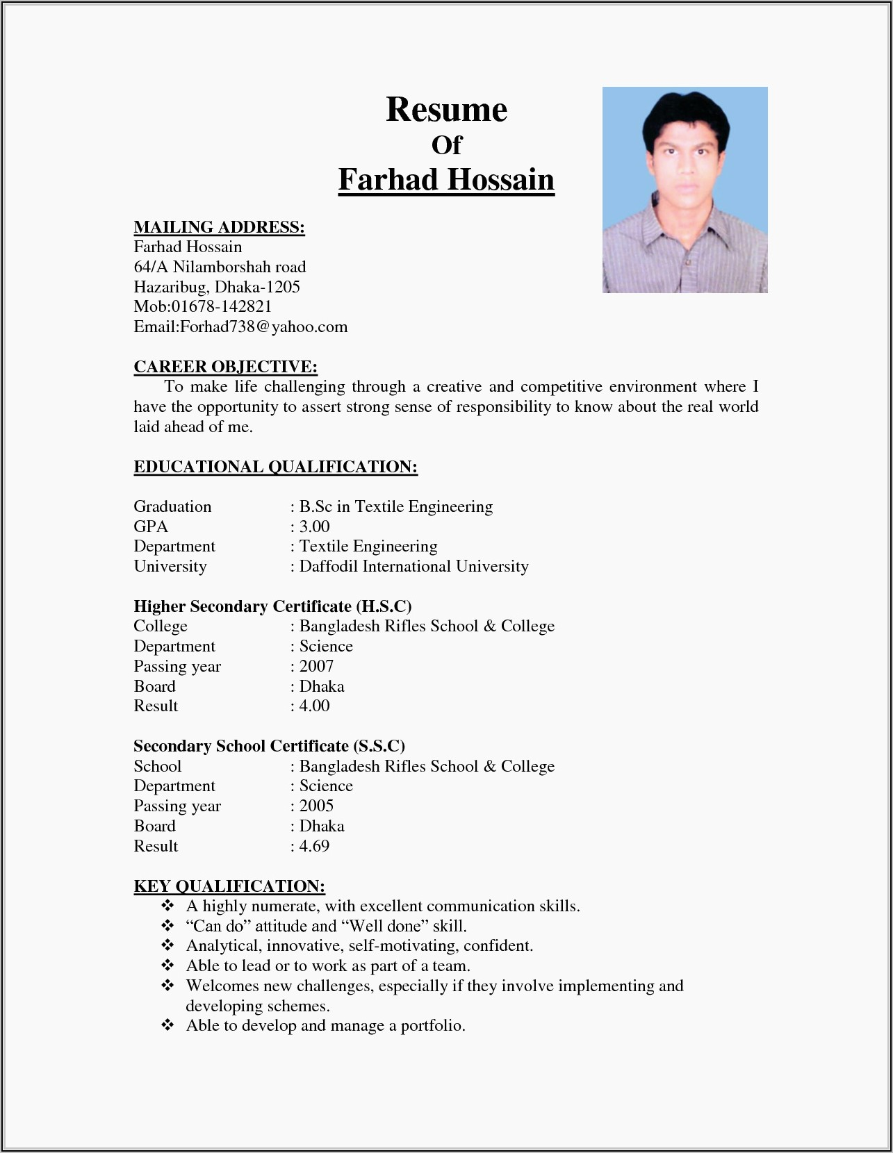 Resume Format Doc For Freshers Engineers