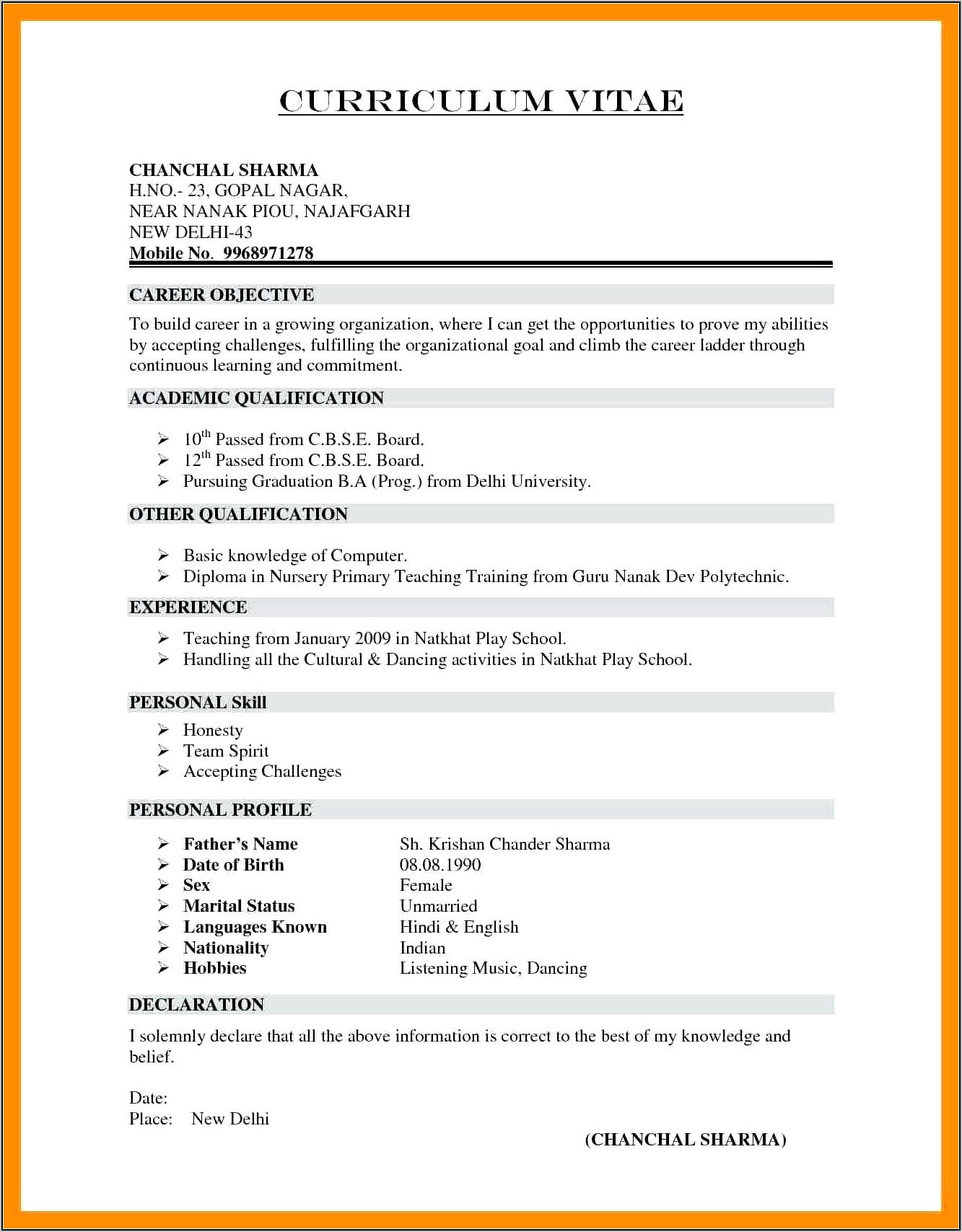Resume Format Download In Ms Word India