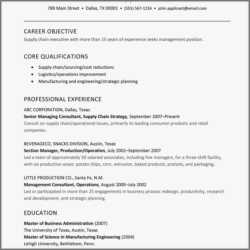Resume Format For Supply Chain Executive
