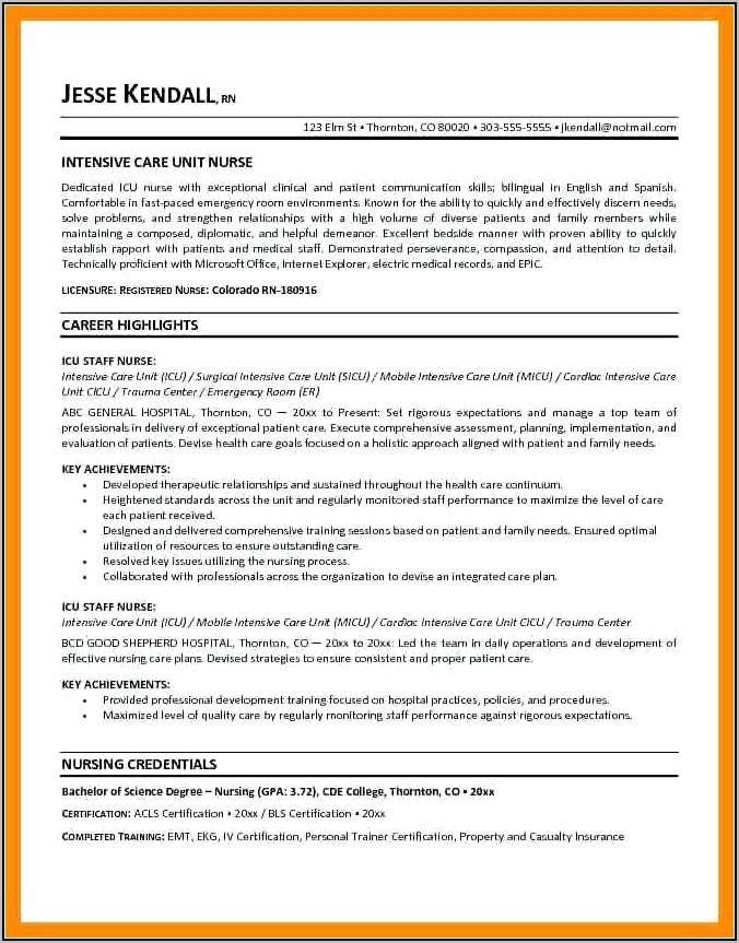 Resume Objective Examples For Nurse Practitioner
