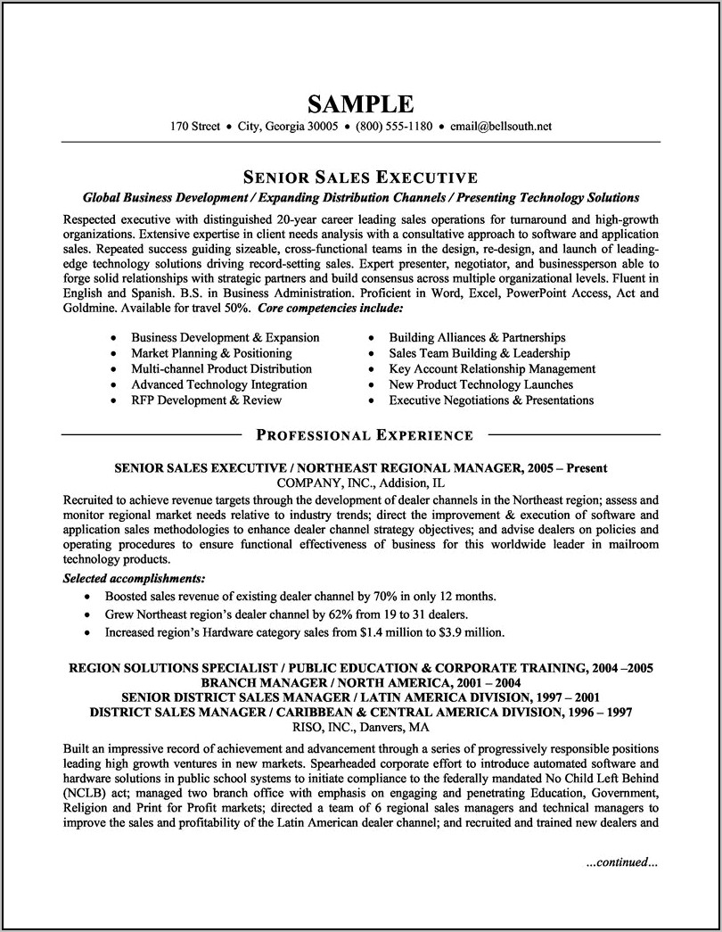 Resume Sales Executive Sample