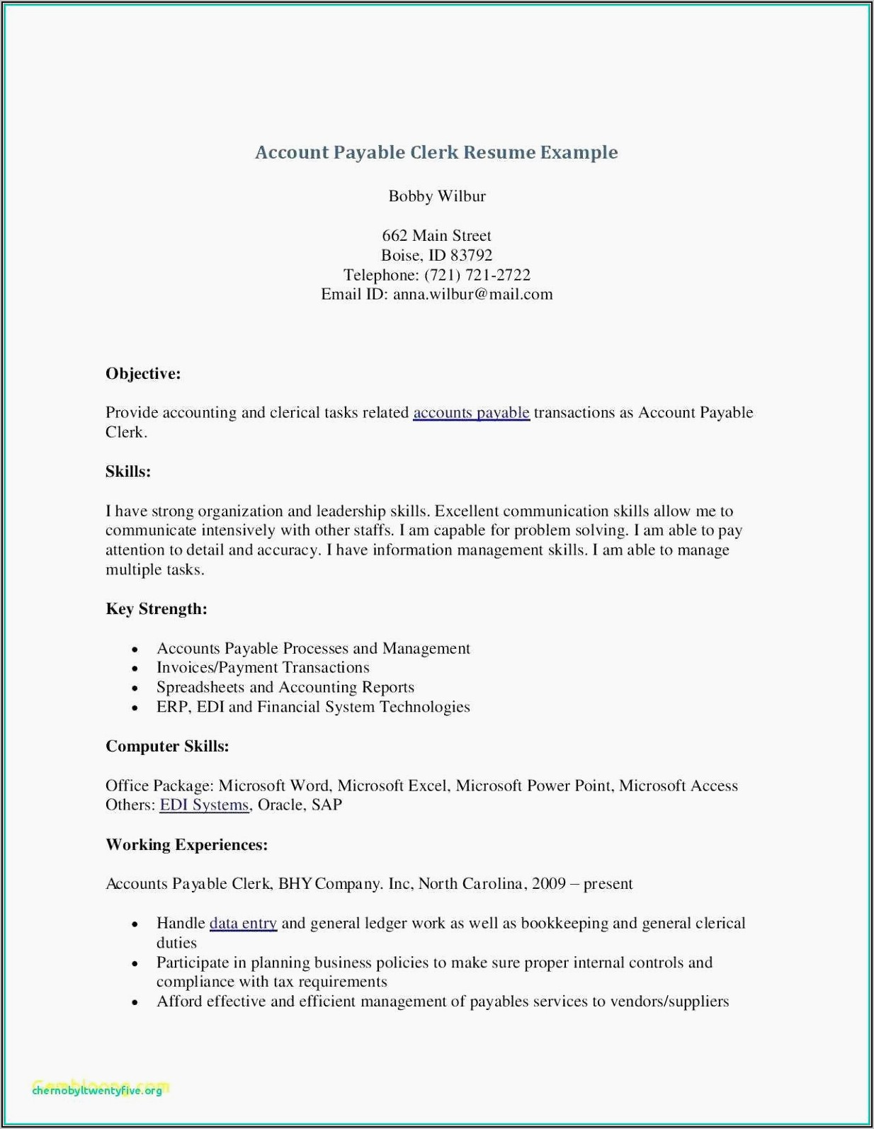Resume Samples For Accounts Payable Manager