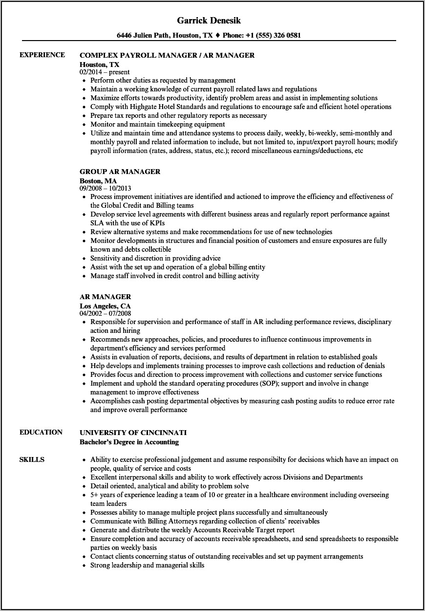 Resume Samples For Accounts Receivable Manager