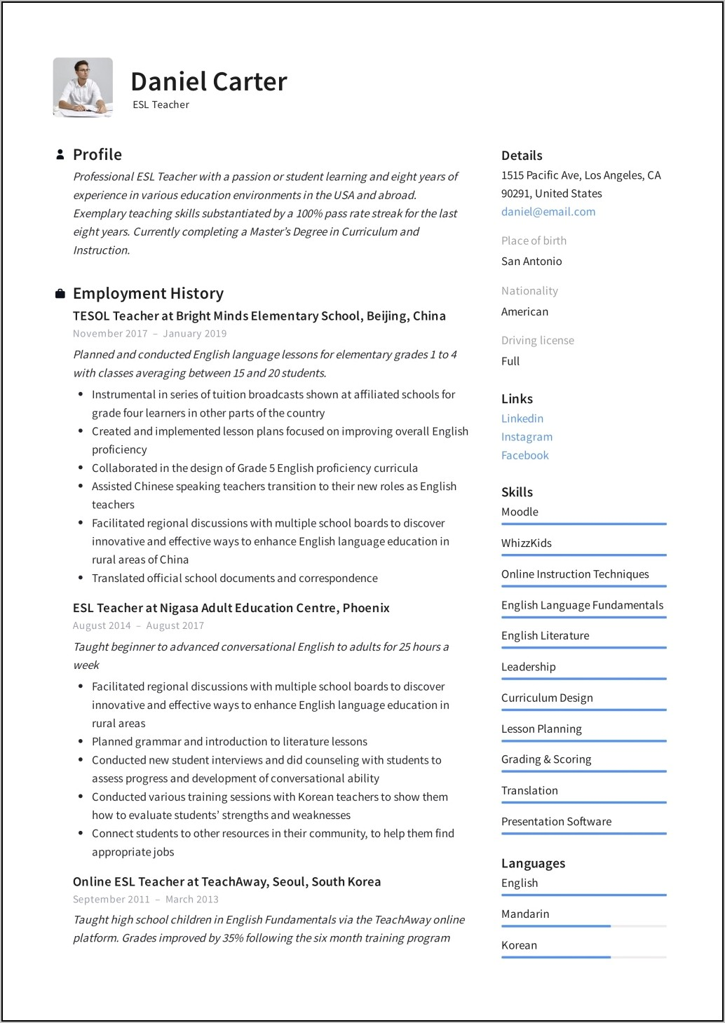 Resume Template For Teaching Assistant