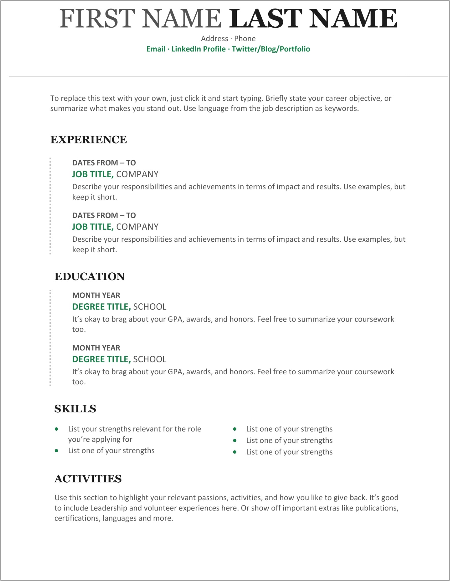 Resume Template Word Document Download
