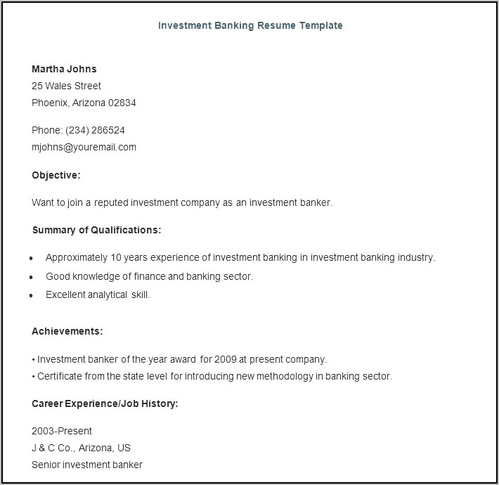 Resume Templates For Banking Jobs