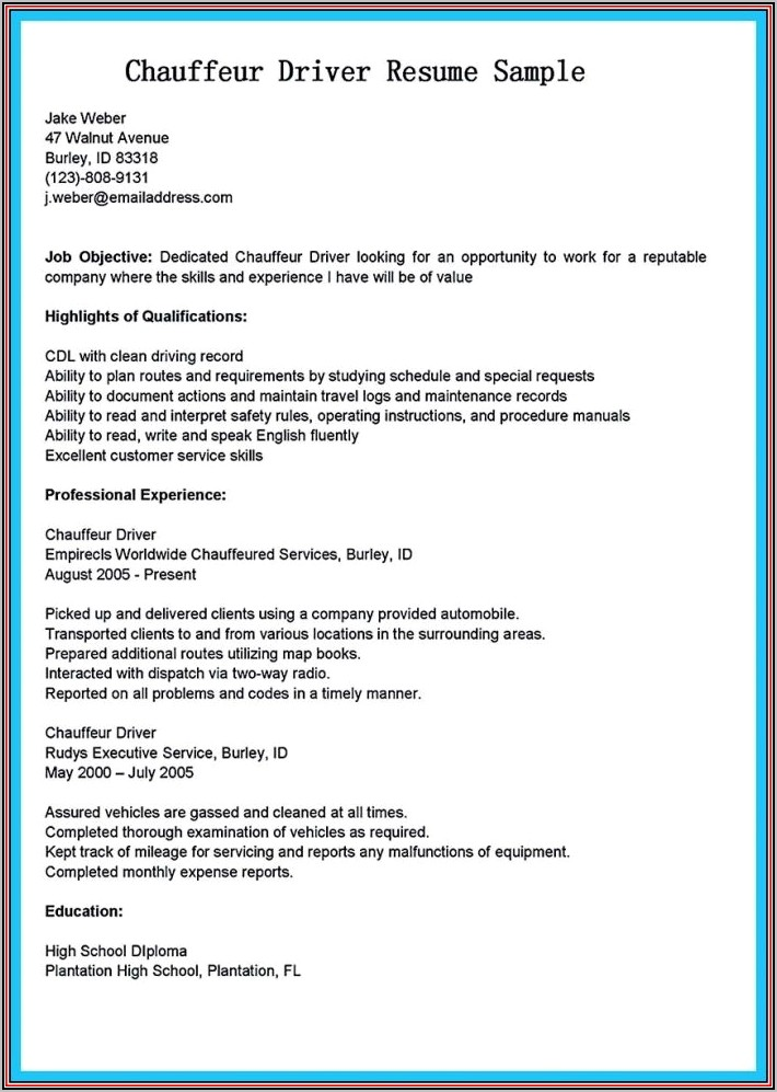 Resume Templates For Driving Jobs