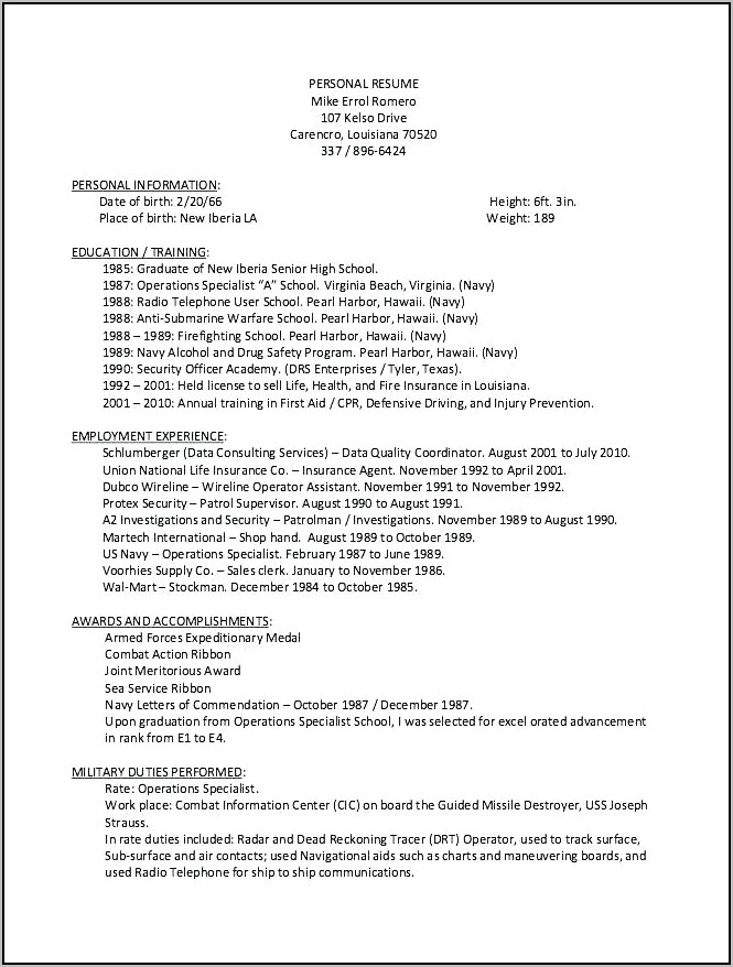 Resume Writing Assistance For Veterans