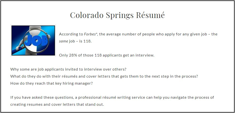 Resume writing services parker co
