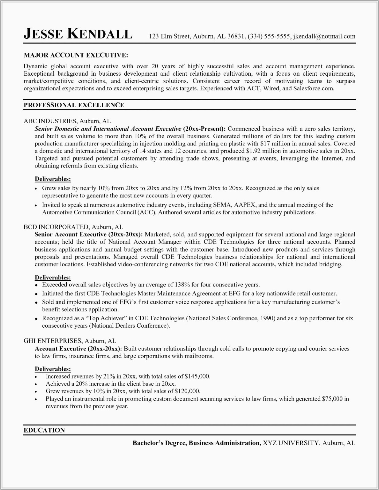Sales Manager Resume Word Format