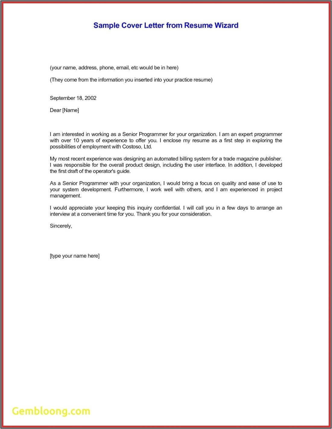 Sample Cover Letter For Resume Through Email