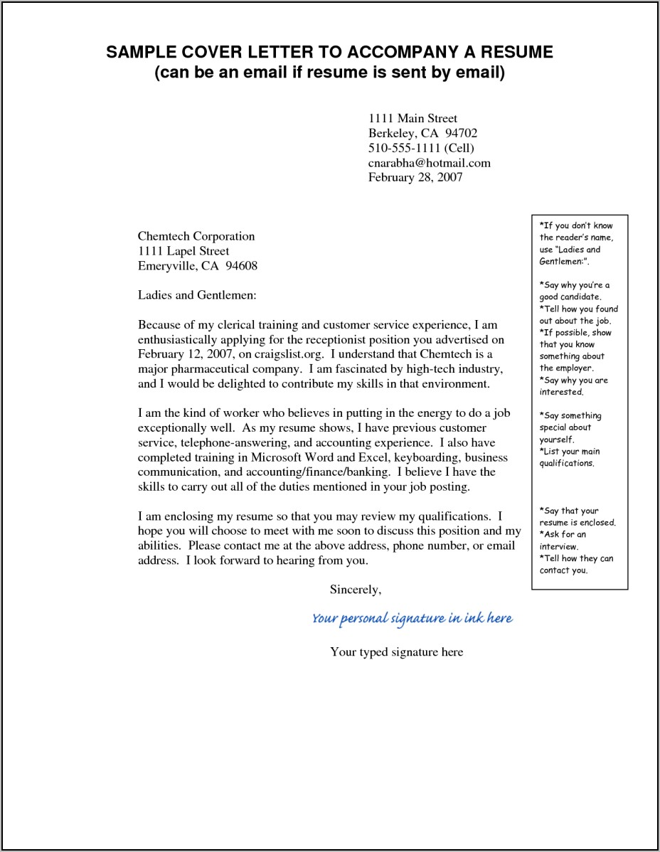 Sample Email Sending Resume And Cover Letter