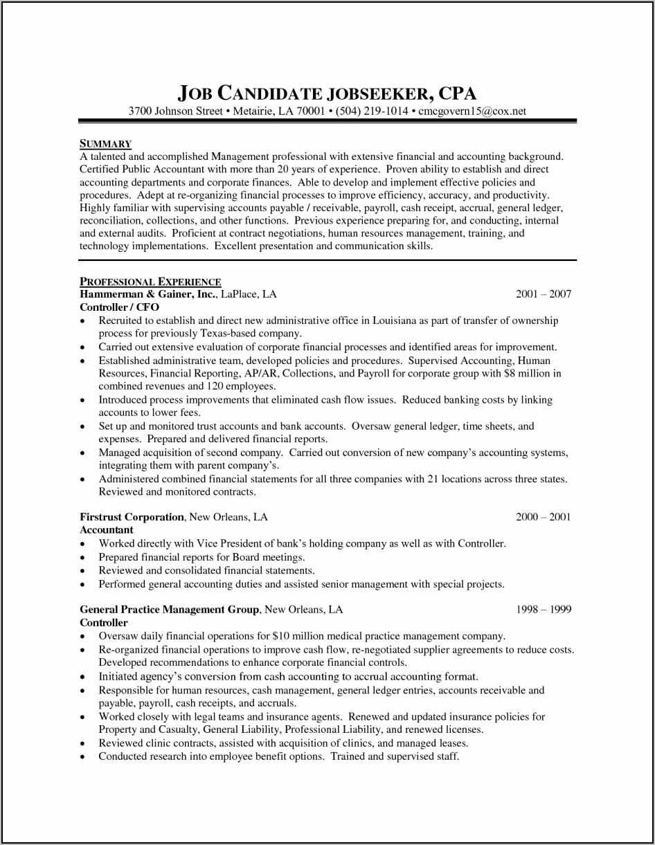 Sample Resume For Accounting Clerk With Experience