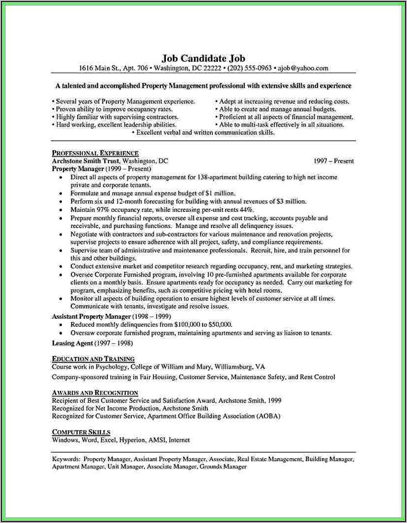 Sample Resume For Assistant Property Manager