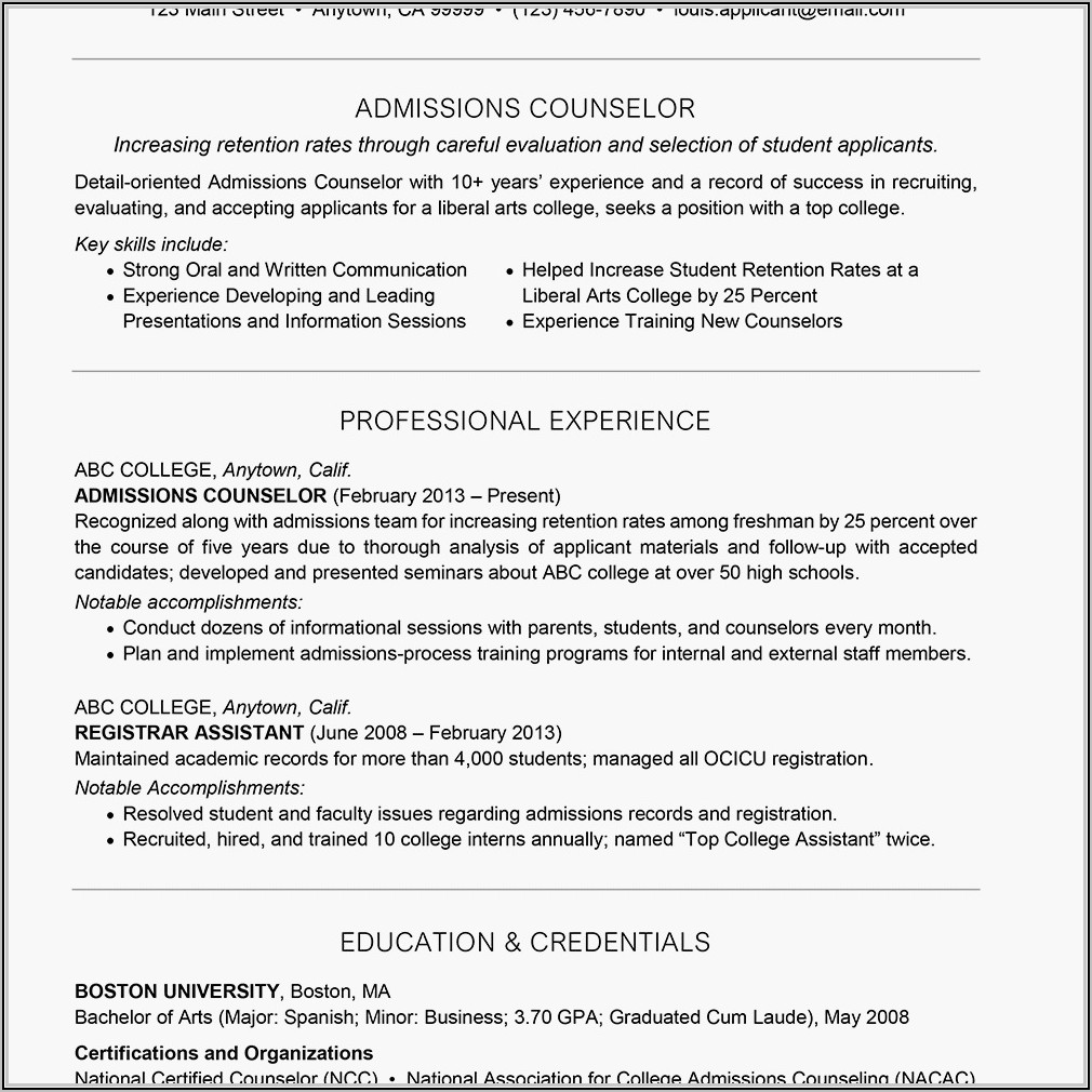 Sample Resume For College Admissions Counselor