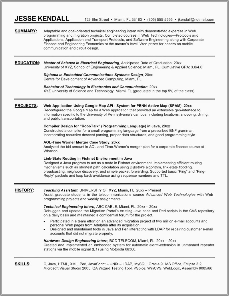 Sample Resume For Electrical Engineer Fresher Doc