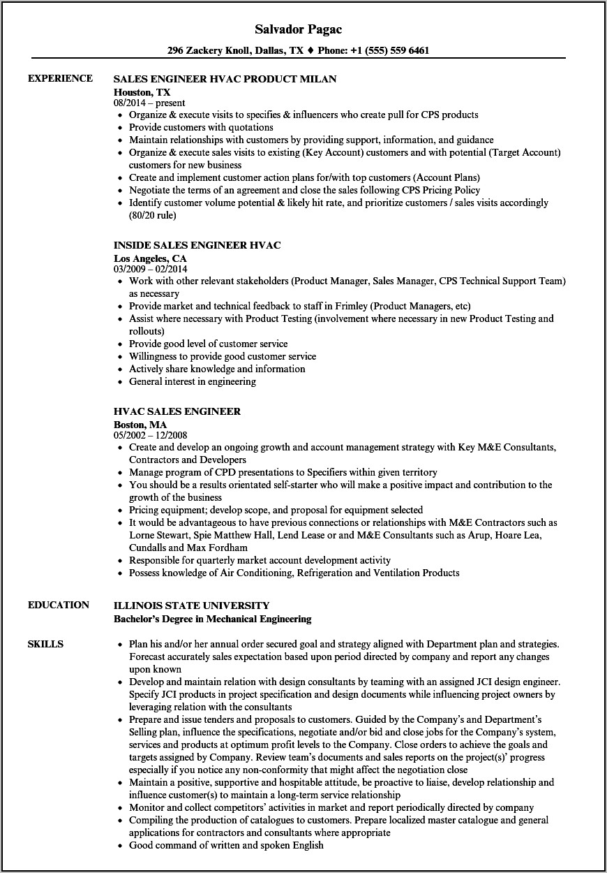 Sample Resume For Hvac Mechanical Engineer