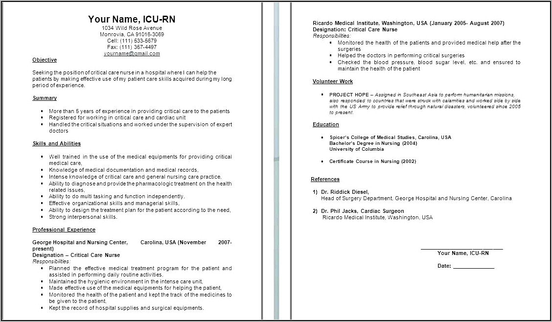 Sample Resume For Labor And Delivery Nurse
