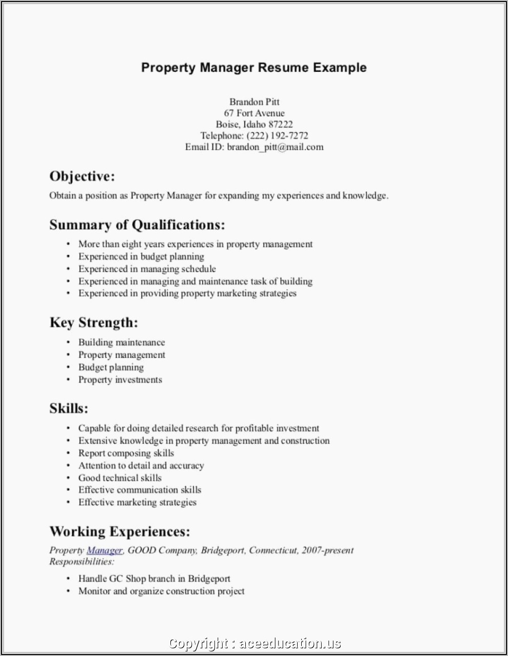 Sample Resume For Property Manager Assistant