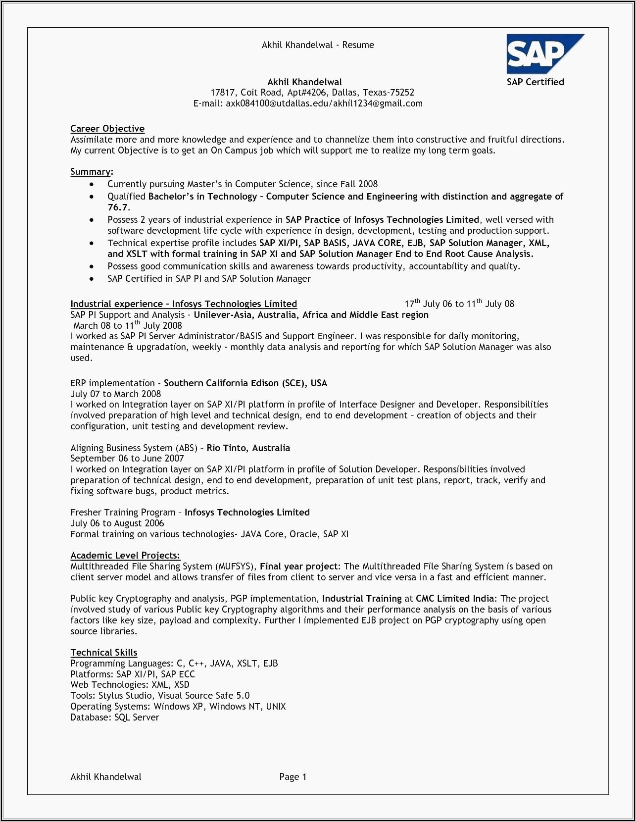 Sample Resume For Sales Executive Fresher