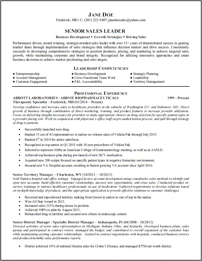 Sample Resume For Sales Manager