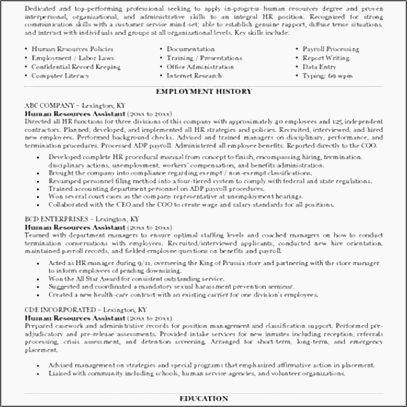 Sample Warehouse Assistant Resume