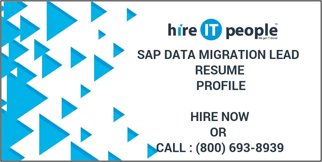 Sap Data Migration Lead Resume