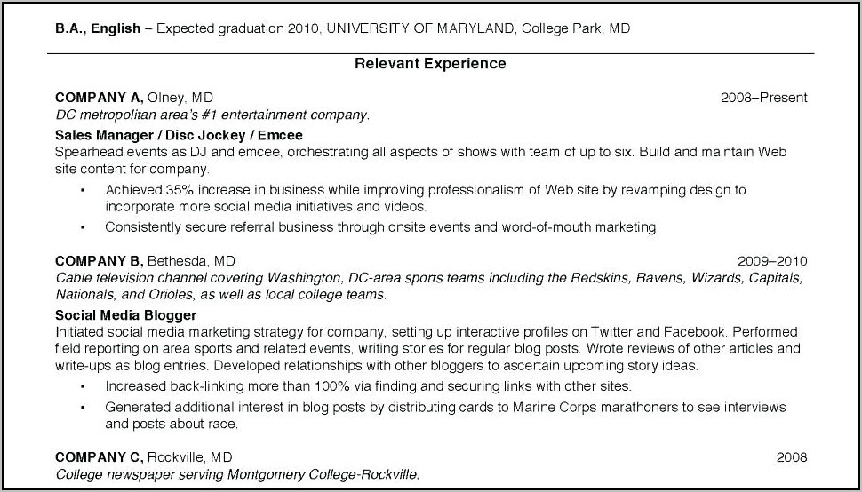 Student Resume Template For College Application