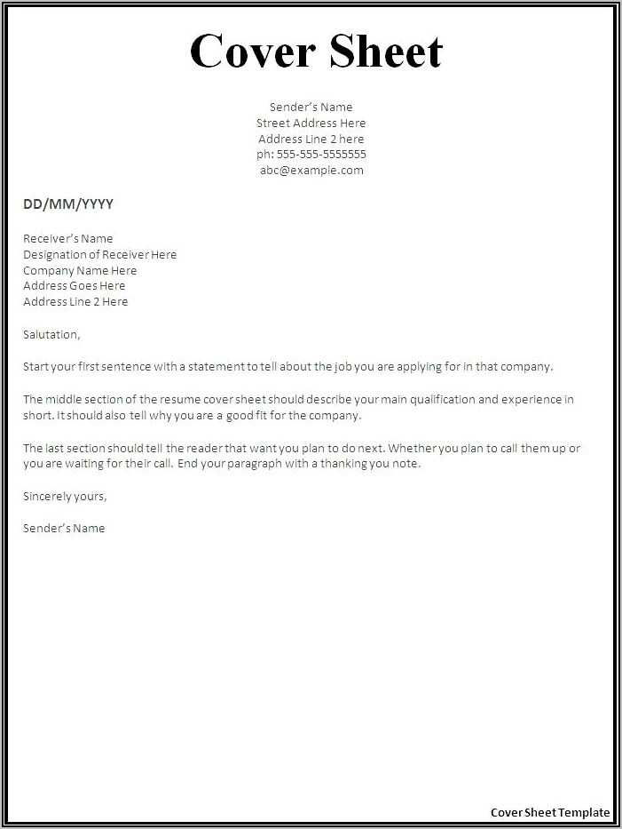 Template For Cover Letter For Resume Free