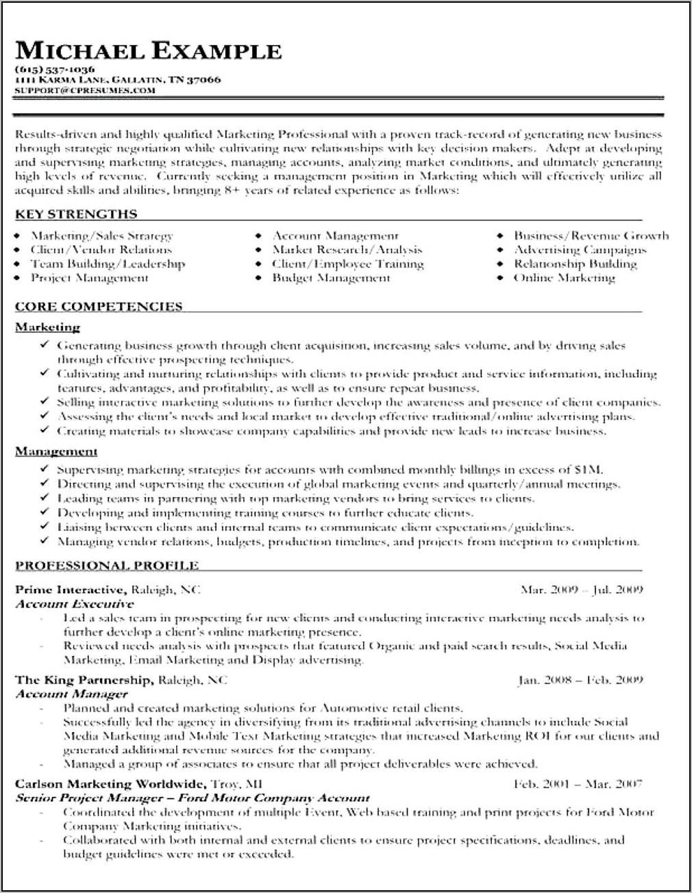 Templates Of Professional Resume