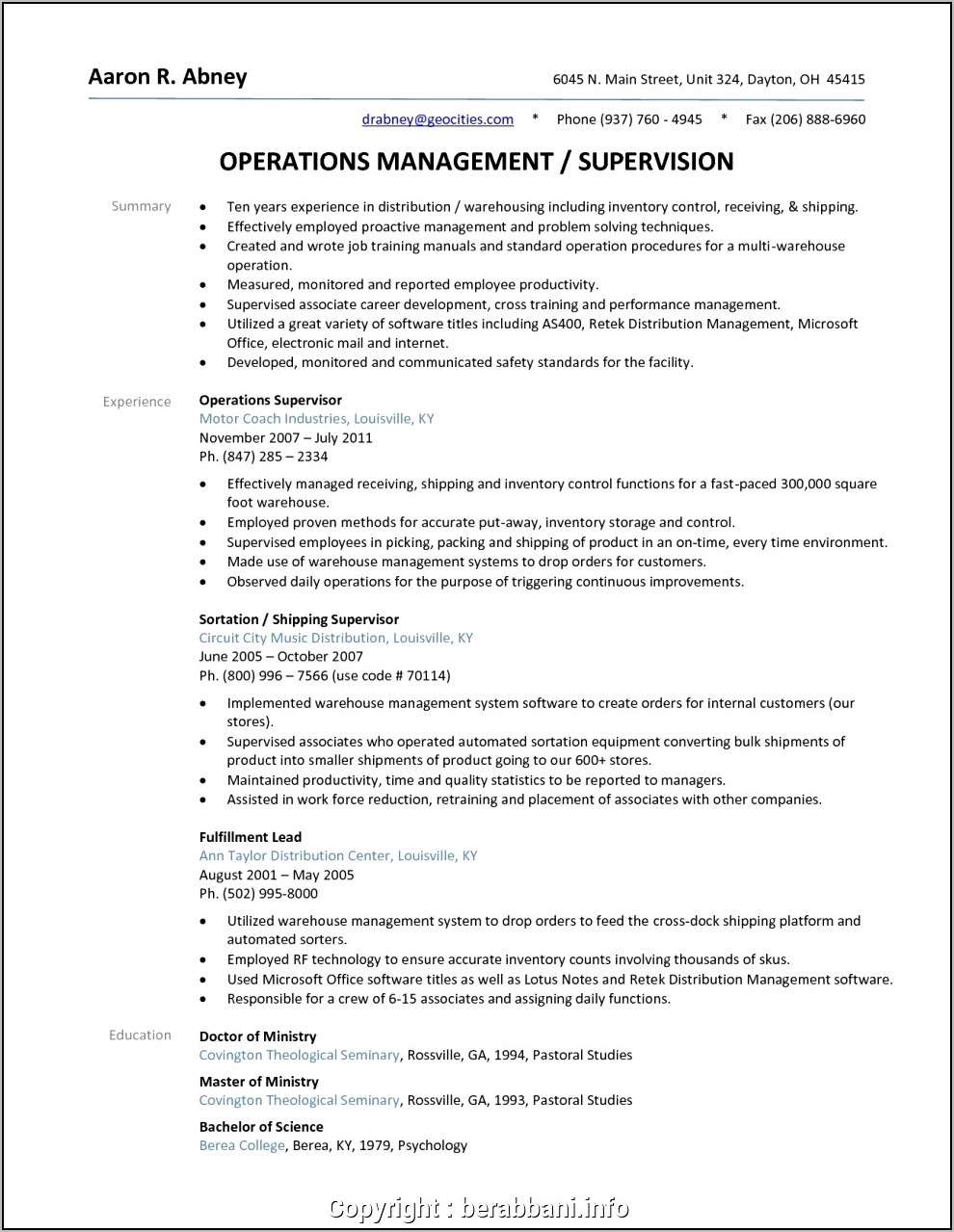 Warehouse Manager Resume Sample Word