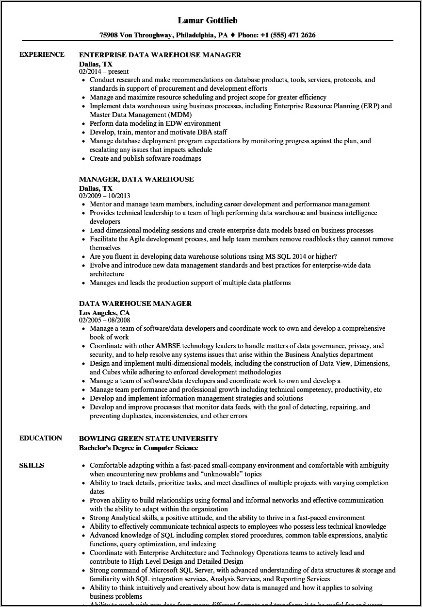 Warehouse Supervisor Cv Example Uk
