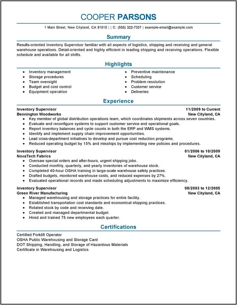 Warehouse Supervisor Resume Objective Examples