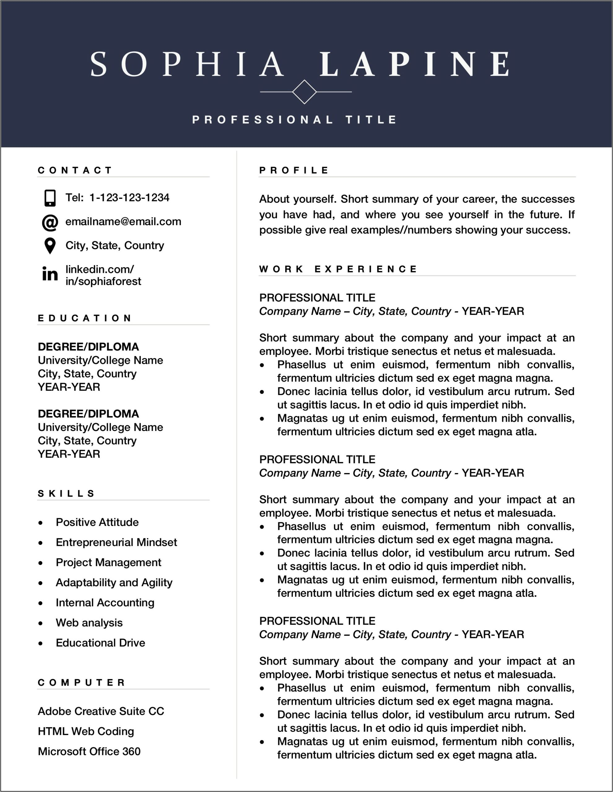 Word Templates For Resume Free Download