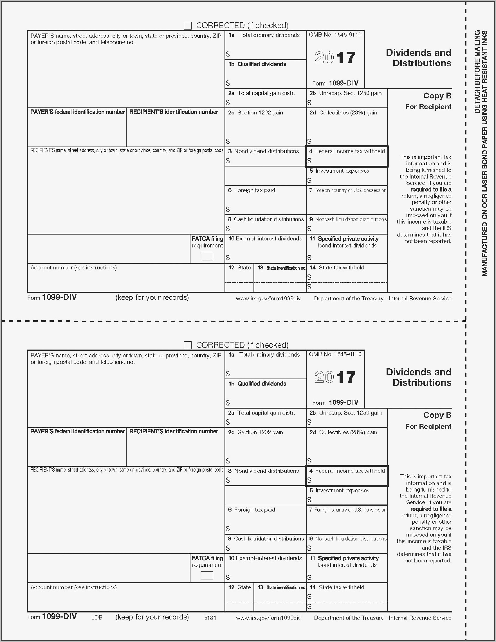 1099 Misc Template For Preprinted Forms 2016