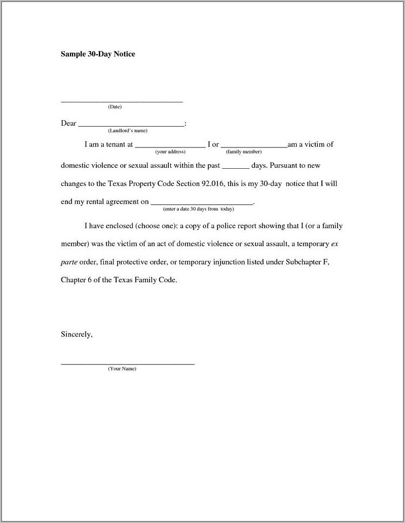 30 Day Eviction Notice Template California
