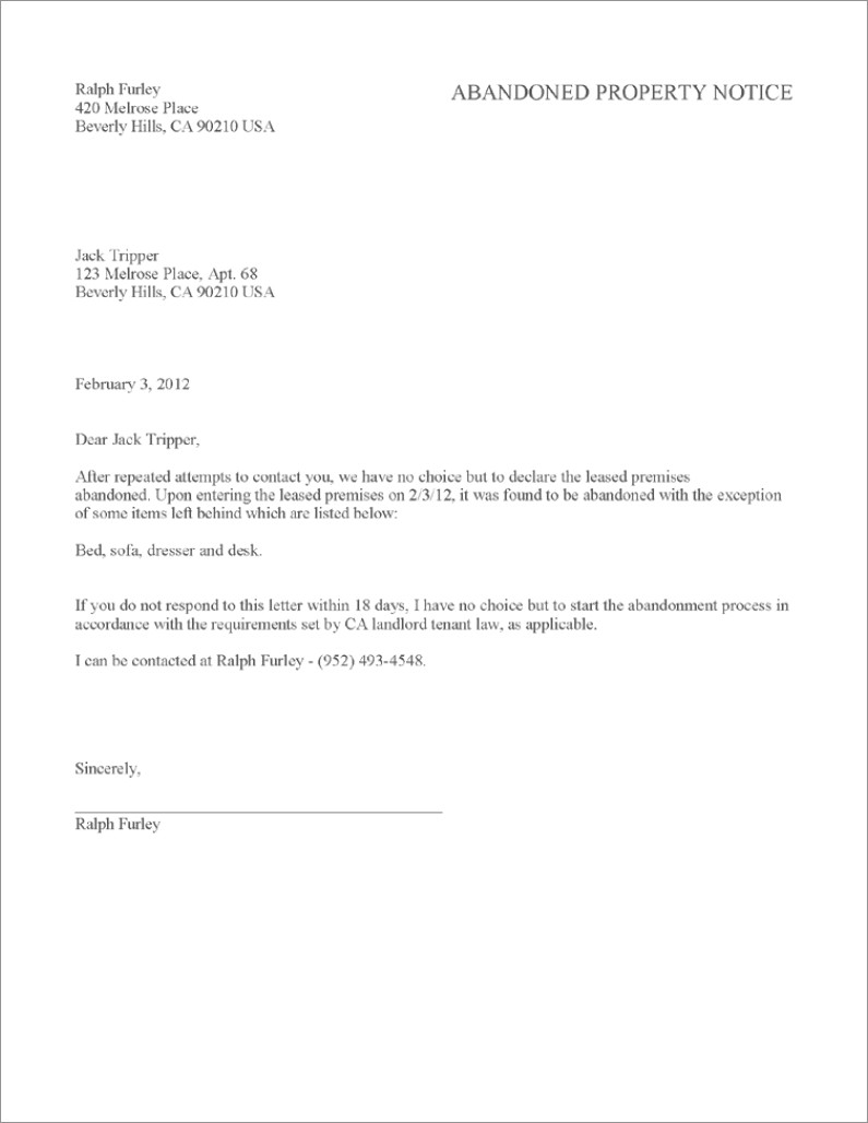 30 Notice To Vacate Letter To Tenant