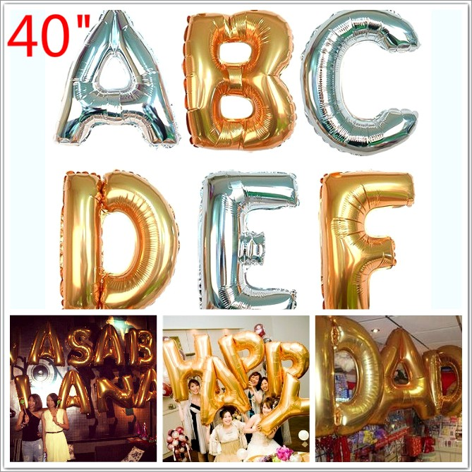 40 Silver Letter Balloons