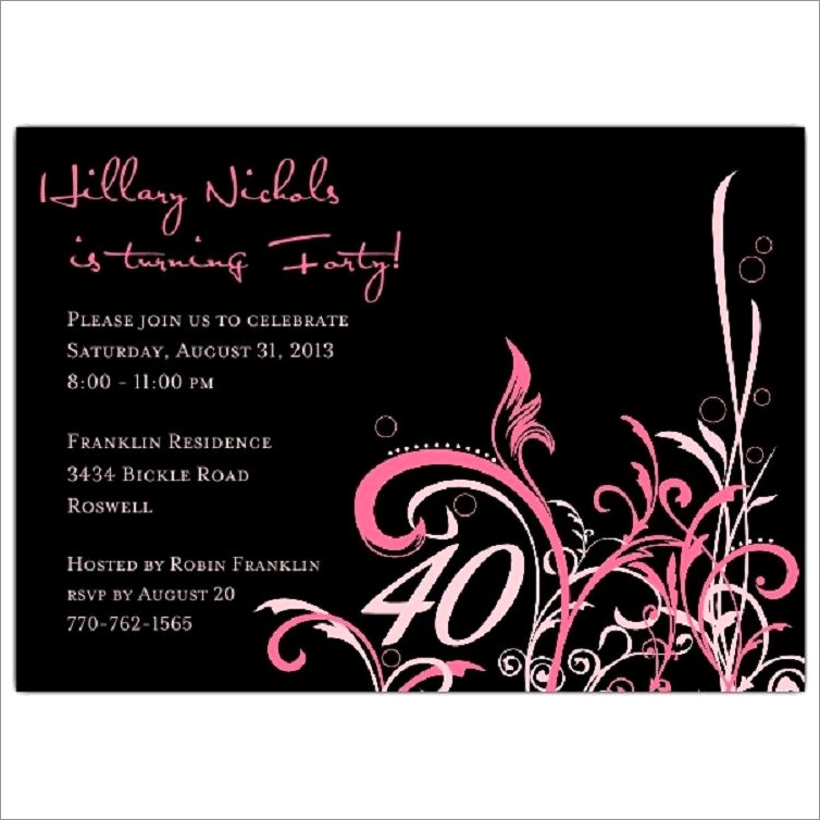 40th Birthday Invitation Ideas For Her