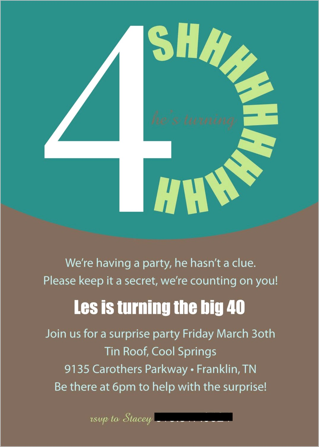 40th Surprise Birthday Invitations