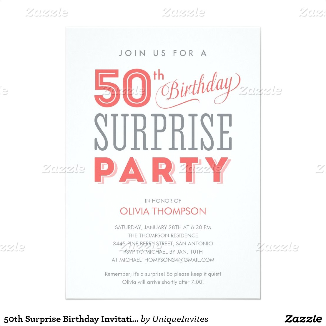 50th Birthday Surprise Invitation Wording