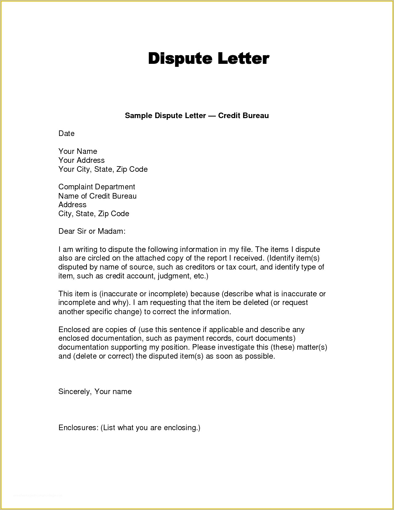 609 Dispute Letter Free