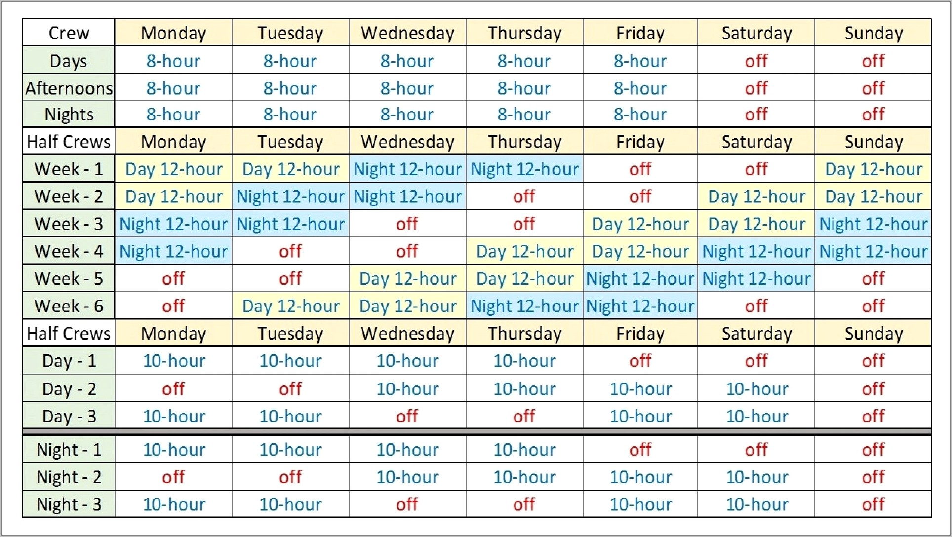 8 Hour Rotating Shift Schedule Examples