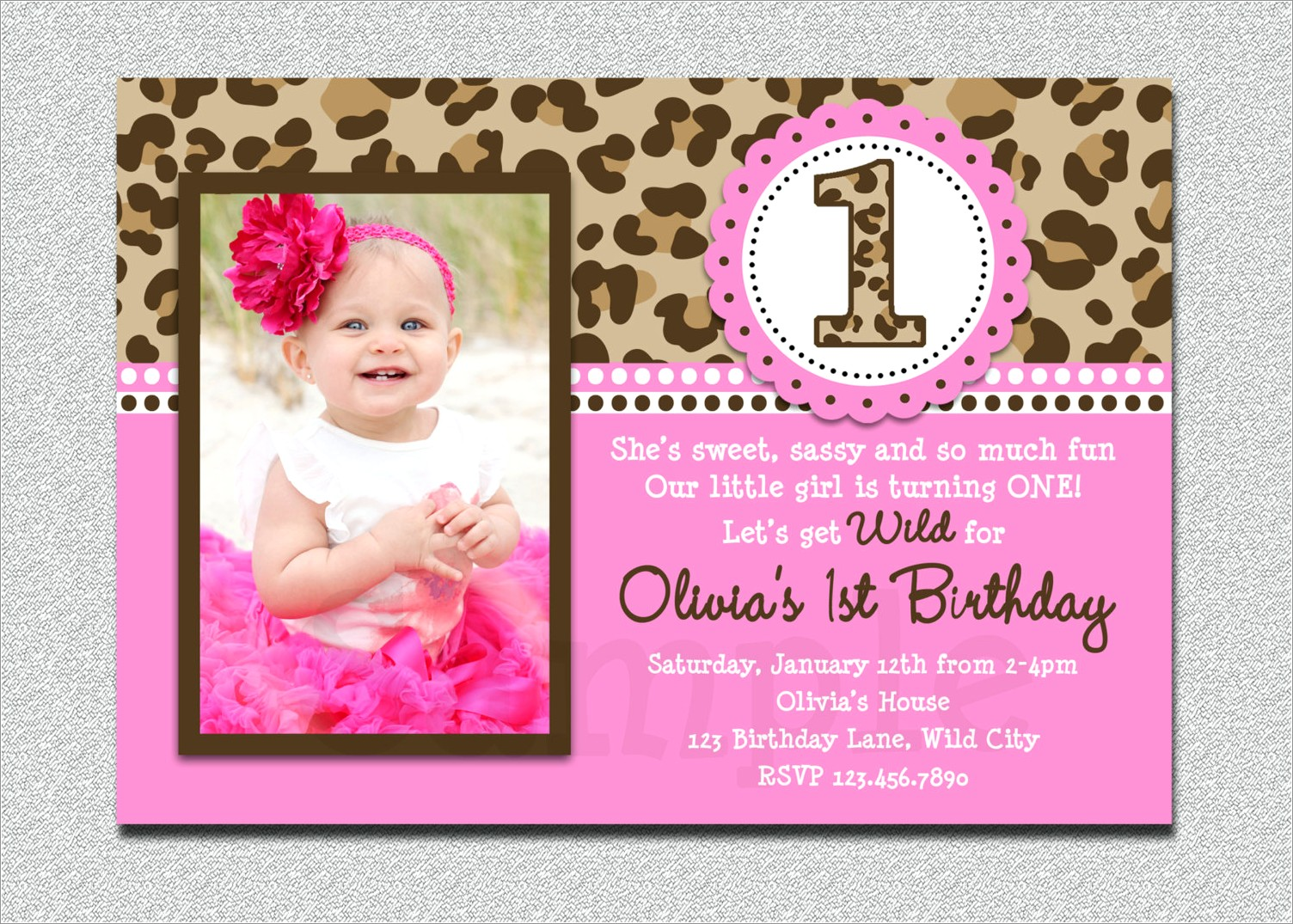 Animal Print First Birthday Invitations