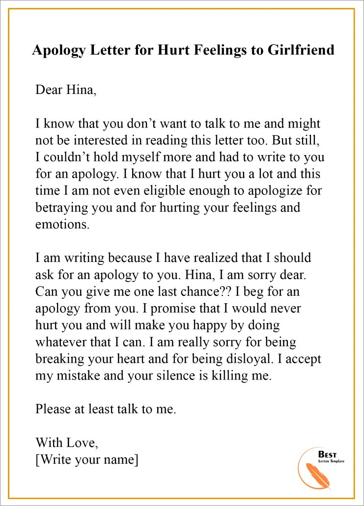 Apology Letter To Ex Girlfriend Sample