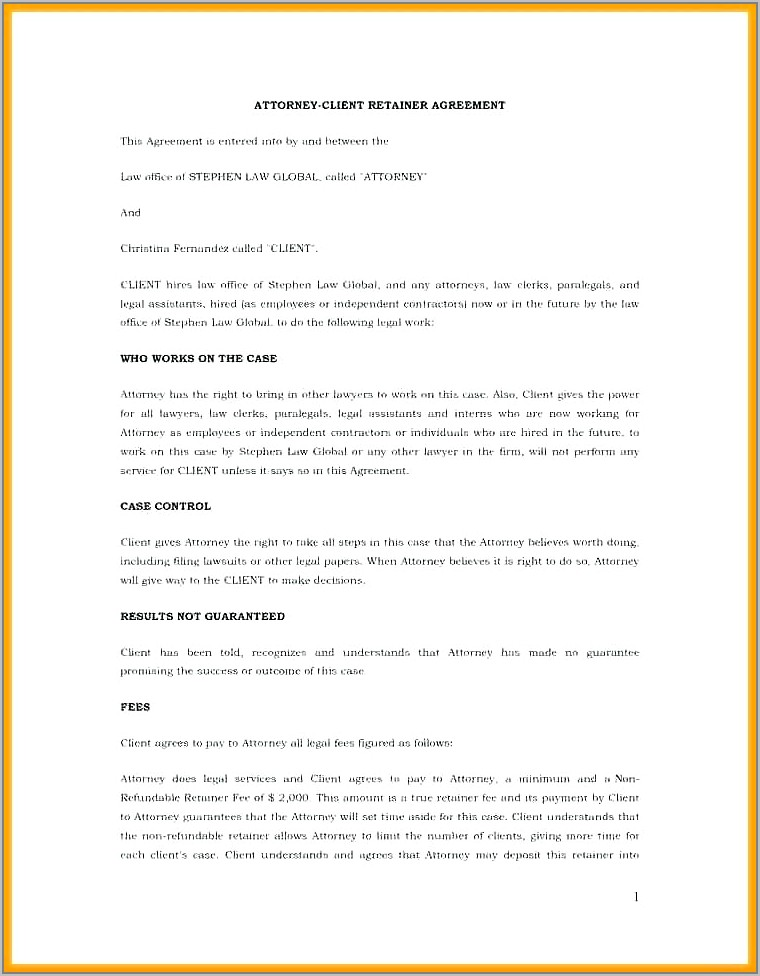 Attorney Client Retainer Agreement Template