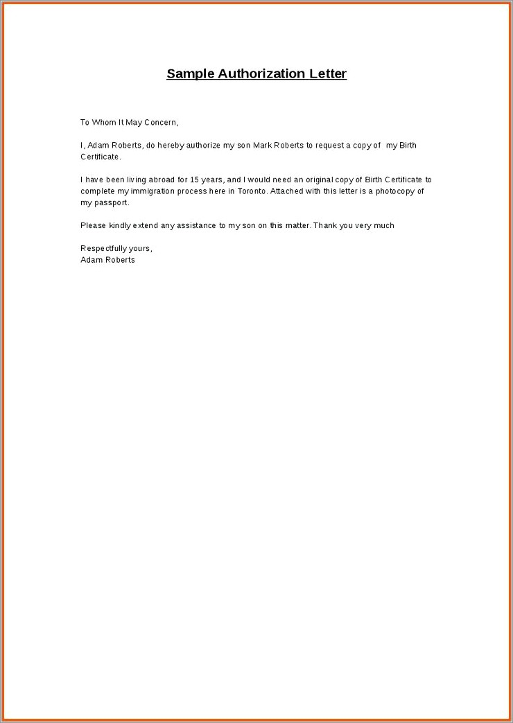 Authorization Letter For Passport Renewal For Minor