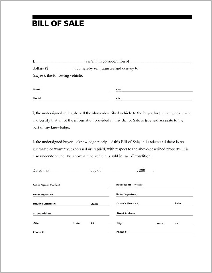 Auto Sales Contract Form Free