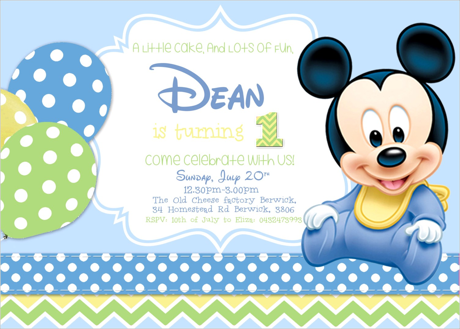 Baby Mickey Mouse Blank Invitations