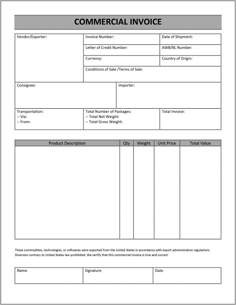 Basic Invoice Template For Word